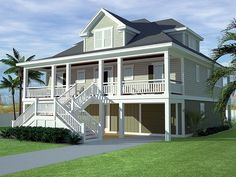 Low Country House Plan with 2629 Square Feet and 3 Bedrooms from Dream Home Source | House Plan Code DHSW077195