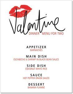 Blank Valentine Menu | Printable Valentine's Day Dinner Menu - comes pre-printed or blank ...