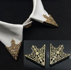 2015 Fashion alloy gold rose plated Hollow pattern collar angle Palace retro shirts brooch pin collar Jewelry wholesale 2 color-in Brooches from Jewelry & Accessories on Aliexpress.com | Alibaba Group