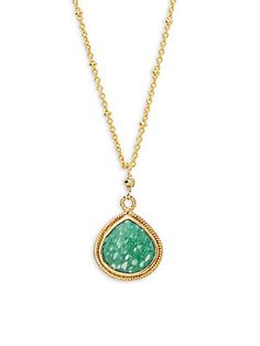 ALANNA BESS Green and White Amazonite & Pyrite Pendant Link Necklace Gold Necklace, Pendant Necklace, Amp, Link, Green, Jewelry, Style, Swag, Gold Pendant Necklace