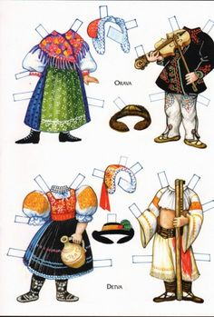 Czech paper dolls: Orava and Detva Paper Toys, Paper Crafts, Vintage Playmates, Paper Dolls Printable, Bizarre, Thinking Day, Vintage Paper Dolls, Doll Parts, All Paper