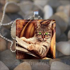 SMART KITTY Library Cat Glass Tile Pendant by ArtsyDivaDesigns, $9.99