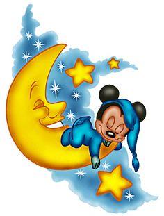Baby Mickey Sleep on Moon