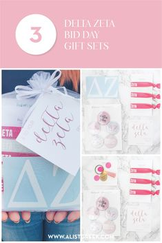 Create the perfect Bid Day gift pack for your Delta Zeta new members! Choose from three gift bag options: Newbie Love, Pref Present or Spoiled. Delta Zeta Gifts | Delta Zeta Bid Day | DZ New Member Gifts | DZ Rush Gift Bags | Delta Zeta Recruitment | Sorority Bid Day | Sorority Recruitment | Bid Day Bags | Sorority New Member Gift Ideas #BidDayGifts #SororityRecruitment Sorority Names, Sorority Bid Day, College Sorority, Sorority Recruitment, Sorority Gifts, Bid Day Gifts, Bid Day Themes, Custom Caps, Delta Zeta