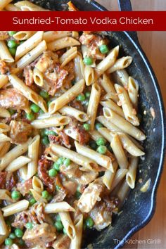 Sun-dried Tomato Vodka Chicken. 30-minutes, creamy, one pot skillet meal, penne pasta with peas. Use 1% milk instead of heavy cream. thekitchengirl.com