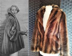 1930s Style Wedding Dresses, 1920s Fashion Dresses, 1950s Fashion, 1950s Style Jacket, Vintage Jacket, Vintage Fur Coat, Mink Jacket, Faux Fur Jacket, Brown Fur Coat