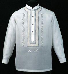 Piña-Jusi Barong Tagalog # 2006 - Barongs R us Barong Tagalog Wedding, Barong Wedding, Wedding Attire, Wedding Dresses, Groomsmen Suits, Groom Attire, Filipiniana Dress, Philippines Fashion, Line Shopping