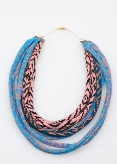 Maze Fabric Necklace in Blue Pink and Green by thief and bandit