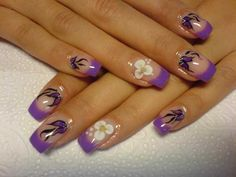 Lilac French nail art with patterns and acrylic flowers :: one1lady.com :: #nail #nails #nailart #manicure