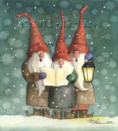 CAROLING GNOMES  Watercolor by Liz Hess  (www.lizhess.com)