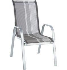 """Ein hochwertiger Gartenstuhl wie dieser ist unverzichtbar für Ihren Garten oder die Terrasse. Er besteht aus grauem Textilgewebe in moderner Streifenoptik und sorgt für angenehmen Sitzkomfort. Der Stuhl """"Houston"""" von XORA aus pulverbeschichtetemStahl kann praktisch aufeinander gestapelt werden und lässt sich so platzsparend verstauen. Mit diesem tollen Gartenstuhl sind Sie bestens auf Grillfeste und gemütliche Sommerabende vorbereitet!"""