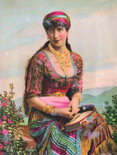 Antique Images: Free Gypsy Girl Graphic: Gypsy Girl with Tambourine and Pink Roses Vintage Gypsy, Vintage Art, Vintage Photos, Vintage Ladies, Gypsy Girls, Gypsy Women, Gypsy Life, Gypsy Soul, Gypsy People