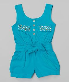 Take a look at the Jade Rhinestone Romper - Girls on #zulily today!