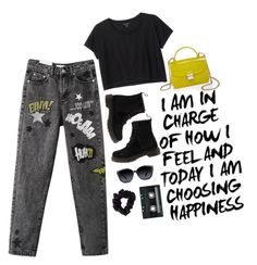 """""""ALIEN"""" by sydnaayyy-13 ❤ liked on Polyvore featuring Monki, Dr. Martens, Furla, GlassesUSA, CASSETTE and American Apparel"""