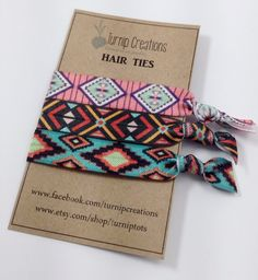 Tribal Hair Ties Arrow Aztec Coral Mint Teal FOE elastic Hair Ties Bohemian pony tail holder Boho Pony Tail Workout Yoga