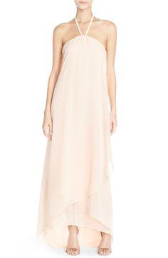Main Image - nouvelle AMSALE 'Dakota' High/Low Chiffon Halter Gown