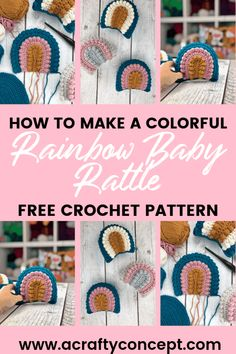 Fully photographed crochet pattern showing how make a crochet rainbow rattle. Includes a video tutorial, step by step photos and written instructions. Crochet Home, Crochet Yarn, Free Crochet, Bib Pattern, Free Pattern, Easy Crochet Patterns, Crochet Ideas, Amigurumi Patterns, I Love This Yarn