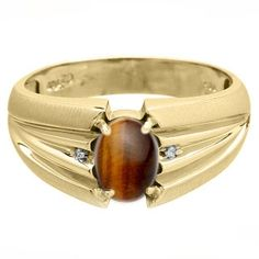 Oval Cut Tiger Eye Stone Diamond Men's Gold Ring - Gemologica, A Fine Online Jewelry Store  Posted to the Stufflicious.com community storefront by gemologica. Buy it directly from gemologica.com for $500 today. #Jewelry #Accessories #Mens #Apparel #Fashion #Style #Bling #Bling