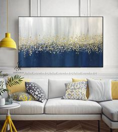 Large Abstract Oil Painting Original art, Gold Leaf Silver Leaf fall painting, Wall Decor Bedroom Above bed, Textured Painting by Julia Kotenko - Abstract oil painting texture painting gold painting gold leaf THIS PAINTING IS SOLD. Simple Oil Painting, Oil Painting Texture, Autumn Painting, Oil Painting Abstract, Painting Trees, Painting Clouds, Blue Painting, Modern Artwork, Modern Wall Decor