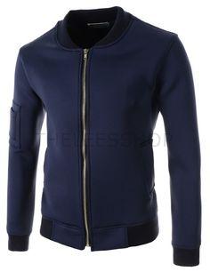 (FLJ01-NAVY) Mens Slim Fit Stretchy Zipper Arm Pocket Zipper Patch Long Sleeve Jacket