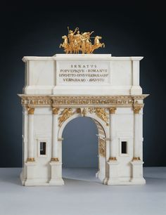 Giovacchino & Pietro Belli and Arch of Titus, Marble and gilt bronze - Royal Collection Trust/© Her Majesty Queen Elizabeth II 2016 - Bought by George IV from Pietro Santi Ammendola of Rome, November 1816 guineas). Baroque Architecture, Architecture Drawings, Classical Architecture, Architecture Details, Architectural Features, Architectural Models, Arch Of Titus, Art Nouveau, Modelos 3d