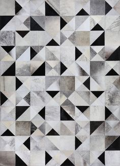 Gatsby by Mosaic Rugs - Luxury Handcrafted Brown & Ivory Patchwork Cowhide Rug - Modern Geometric Pattern Art Deco Design 1920's style - Mosaic Hides