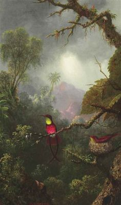 Martin Johnson Heade, Nesting Hummingbirds, Brazilian Landscape