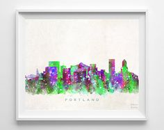 Portland Skyline Print Oregon Print Portland by InkistPrints