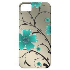 IPhone 5 Floral Ivory aqua iPhone 5 Case $44.95