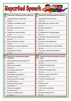 Questions ESL worksheets Reported Speech Pinterest