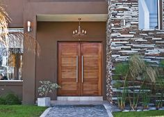 modern home exterior wall design house front decoration ideas 2019 Exterior Wall Design, Main Door Design, Front Door Design, Entrance Design, Window Design, Modern Exterior, Modern Entrance Door, House Entrance, Flat Roof House