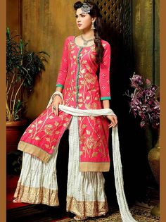 Exquisite pink color #Chanderi #Kameez with foil print, fancy patch on hemline and front slit. Item Code : SLEB30011 http://www.bharatplaza.com/new-arrivals/palazzo-suits.html
