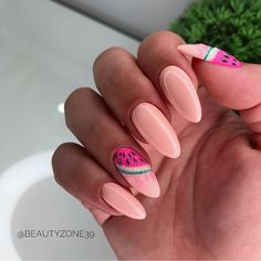 This design is so fresh, acrylic nail art, this watermelon nails are for you! fruity and summery! it will literally make your mouth water, you'll want to Nail Design Stiletto, Nail Design Glitter, Cute Acrylic Nail Designs, Cute Acrylic Nails, Gel Manicure Nails, Sea Nails, Nail Polishes, Nagel Stamping, Nails Studio