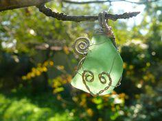 Heart Sea glass pendant, Wire Wrapped pendant, Sea glass jewelry, Christmas gift, Beach glass, Silver Copper Wire, green aqua sea foam,Chain by Spti on Etsy