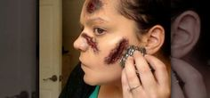 How to Do a makeup open wounded face effect for Halloween « Props & SFX Kids Zombie Makeup, Haloween Makeup, Zombie Face, Costume Makeup, Wound Makeup, Fx Makeup, Insta Makeup, Homemade Zombie Costume, Homemade Halloween