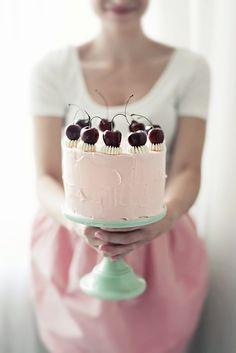 Cherry Vanilla Cake with Swiss Meringue