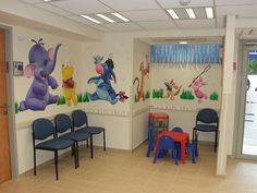 Pediatric office Murals. Wall painting of Winnie-the-Pooh, Tigger, Heffalump, Piglet, Roo and Eeyore