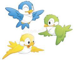 Set of Cute Birds. Cute cartoon birds in three color , Cute Cartoon Pictures, Bird Pictures, Cartoon Images, Bird Drawings, Cartoon Drawings, Gif Ideas, Free Vector Illustration, Illustrations, Vogel Clipart