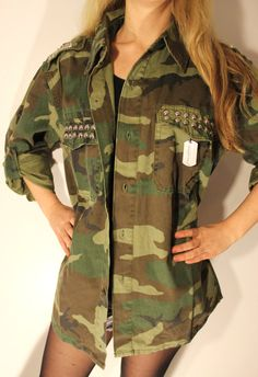Studded Vintage Woodland Camouflage Fatigue Army by FlamingoMaude, $49.00