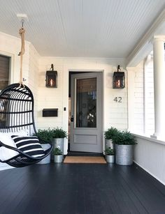 Small front porches, farmhouse front porches, back porches, outdoor sconces Craftsman Front Porches, Modern Front Porches, Farmhouse Front Porches, Rustic Farmhouse, Craftsman Style Porch, Craftsman Remodel, Painted Front Porches, Enclosed Front Porches, Craftsman Home Decor