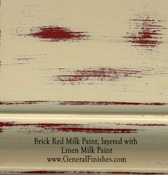 "Brick Red Milk Paint, layered with Linen by GeneralFinishes. Not really a ""milk"" paint but a smooth-working 100% water base acrylic paint, perfect for indoor/outdoor  furniture & projects - visit http://www.generalfinishes.com/retail-products/water-base-milk-paints-glazes. Intermixable from the can - easier to use than chalk paint! Mix it, lighten it, distress it, glaze it, antique it. Buy at Rockler & Woodcraft Woodworking stores. Find more stores at…"