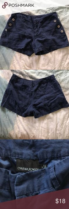NWOT Cynthia Rowley 100% Linen Sailor Shorts New without tags - tried them on..never worn around. These navy blue sailor shorts are the nautical gems of the land. They would look great with red, yellow, or hot pink! Plus they are 100% linen. Cynthia Rowley Shorts