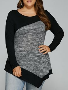 Plus Size Heathered Patchwork Asymmetrical Tee in Black And Grey | Sammydress.com