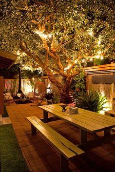A iluminação é tudo para fazer o local funcionar bem a noite. Quem quer ficar dentro de casa quando se tem um quintal desse? Ambiente de estar e jantar unidos pela maravilhosa árvore que de dia traz sobra e de noite vira um maravilhoso lustre. #jardim #outside #iluminação #outdoor