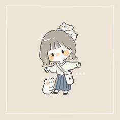 Chibi Girl Drawings, Cute Cartoon Drawings, Cute Kawaii Drawings, Cartoon Art Styles, Stickers Kawaii, Cute Stickers, Cartoon Kunst, Cute Little Drawings, Cute Girl Drawing