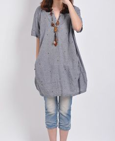 Linen tops cotton blouse casual loose dress by PerfectChlothing, $58.00