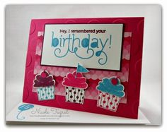 Nicole's fun card: Cupcake Party, Age Awareness, Sweet Taffy dsp, Large Polka Dot embossing folder, and Cupcake punch. All supplies from Stampin' Up!