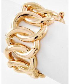 407128 Gold Tone Metal / Lead&nickel Compliant / Chain Design / Stretch Bracelet