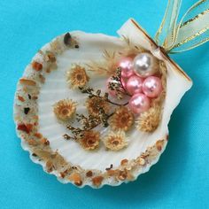 Seashell Christmas Ornament with Pearl Beads by NaturesOfferings