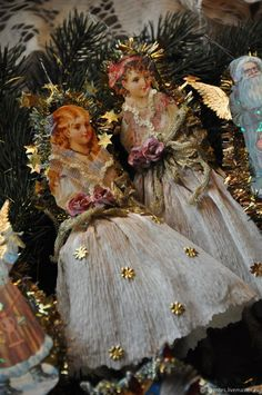 Victorian Christmas Decorations, Shabby Chic Christmas, Antique Christmas, Vintage Christmas Ornaments, Christmas Angels, Xmas Decorations, Handmade Christmas, Christmas Fun, Rainy Day Crafts